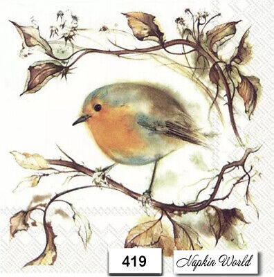 (419) TWO Individual Paper Luncheon Decoupage Napkins - ROBIN, BIRD, AUTUMN