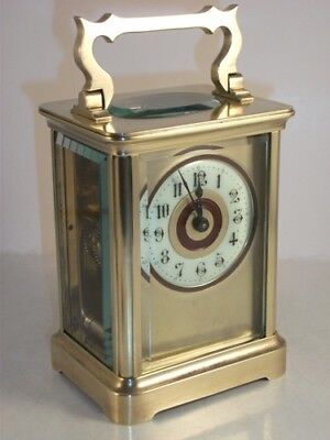 Antique Brass Carriage Clock With Masked Dial. Key.  Full Service Aug. 2018