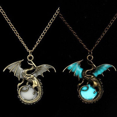 Glow in the Dark Charm Dragon Luminous Pendant Necklace Amulet Creative Gift BS