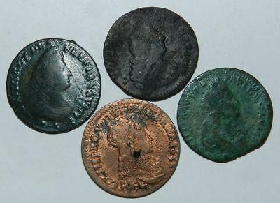 FRANCE : 4 OLD COINS - 17th Century LOUIS XIII & LOUIS XIV