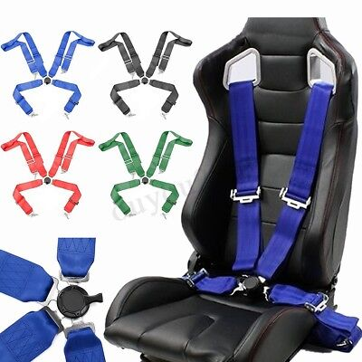 Adjustable Retractable 4 Point Racing Safety Harness Camlock Strap Seat Belt