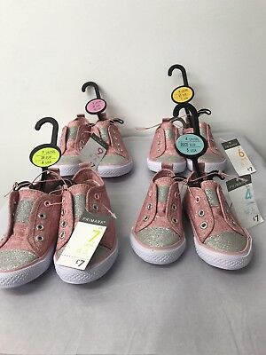 Primark Wholesale Joblot Girls Pink Shimmer Canvas Trainers X 24 Pairs Uk 3-UK 1