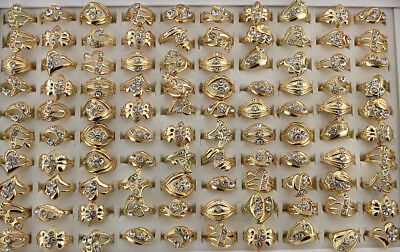Wholesale Jewelry Mixed Job Lots 50pcs Rhinestone Women/lady's Charm Rings