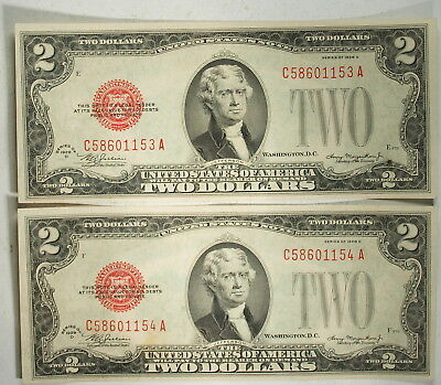 Lot of 2 Consecutive US 1928 D  $2 Two Dollar Legal Tender Banknotes, Choice CU!