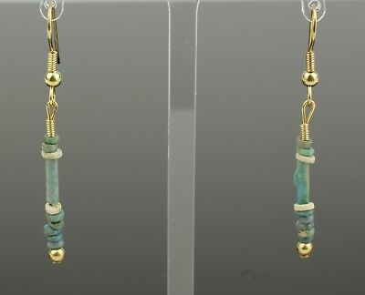 Beautiful Ancient Egyptian New Kingdom Faience Bead Earrings -1700 Bc 901