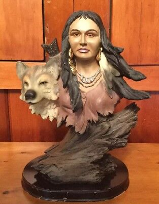 Vintage Native American Indian and Wolf Sculpture Statue