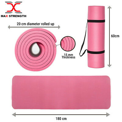 NBR Ladies Yoga Mat Gym Exercise Carry Strap 15mm Thick Fitness Workout Pink