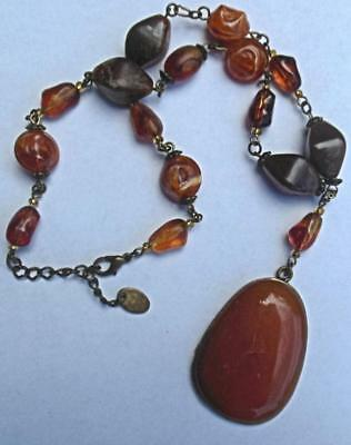 "Vintage  Costume Jewelry Necklace with Agate Pendant 16"" Plus 2"" Extender"