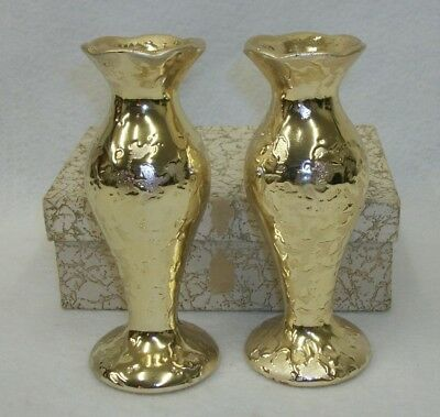 Vintage Pair Of 2 Weeping Gold Bud Vases In Original Gift Box