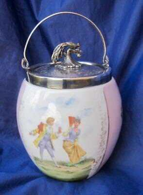 Antique English Porcelain Biscuit Jar Lid Peacock Finial Pink Silver Plate Panel