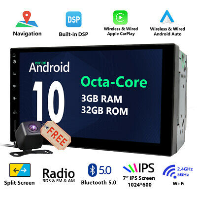 """CAM+ Android 7.1 Double DIN 7"""" HD Car Stereo GPS Sat Nav DAB+ OBD2 WiFi 4G Radio"""