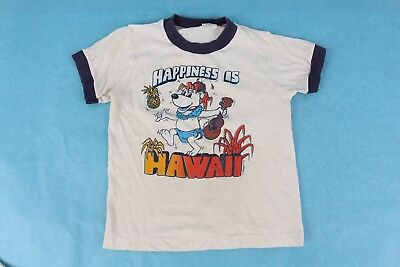 Vtg 70S Happiness Is Hawaii Ringer T Shirt Youth Kids Usa