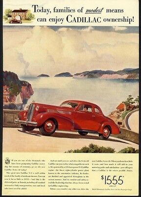 1937 Red CADILLAC Coupe Series 60 Auto Car Ad On the Road 2 Door