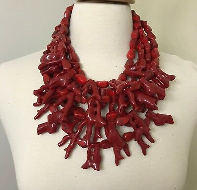 Stunning Monies Style Modernistic Red Resin Coral Necklace