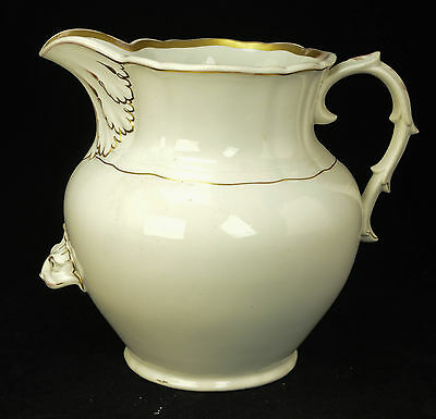 Large Antique Victorian Porcelain White w/ Gold Gilt Water Pitcher Jug Rare L5Z