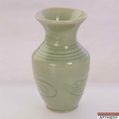 Thai Celadon Green Bud Vase Feather Plume Design Made In Thailand Marked 4 3/4""
