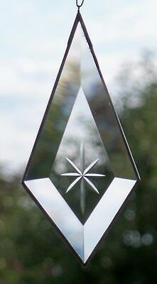 Leaded Glass Window Image Suncatcher Faceted Drop with Engraving in Tiffany