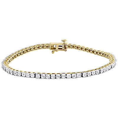 1 Row Sterling Silver & Round Diamond 3.5mm Miracle Plate Tennis Bracelet 1/4 CT