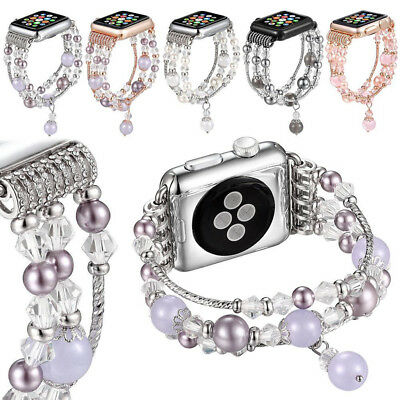 For Apple Watch iWatch Series 5 4 40/44mm Bling Agate Beads Strap Bracelet Band