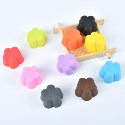 10x Silicone Rose Flower Cup Cake Muffin Cupcake Egg Tart Cases Baking Moulds