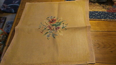 "Vintage WORKED NEEDLEPOINT Floral on Gold, 18""x19"""