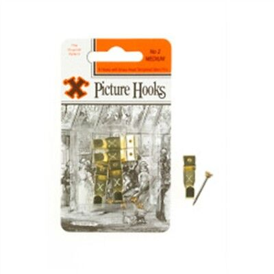 No.2 Hook Medium Brassed 4 Hooks With Brass Headed Pins - Picture x Pack No2