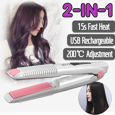 USB Rechargeable Hair Straightener Curler 2 In 1 Flat Iron Pro Styler Portable