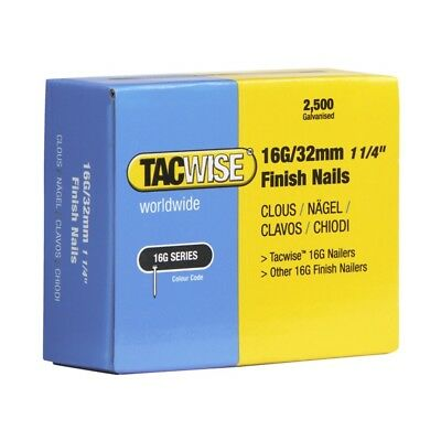 Tacwise 16 Gauge Straight Finish Nails 38mm Pack 2500 TAC0296
