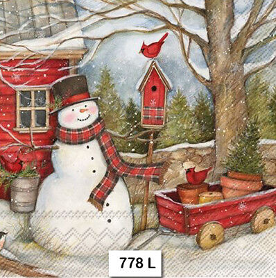 (778) TWO Individual Paper Luncheon DECOUPAGE Napkins - CHRISTMAS SNOWMAN BARN