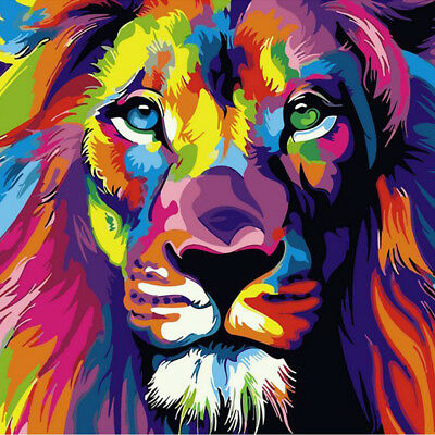 Frameless Colorful Lion Animals Abstract Painting DIY Digital Paintng By Numbers