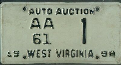 "WEST VIRGINIA 1998 license plate ""AA61"" ***AUTO AUCTION #1***"