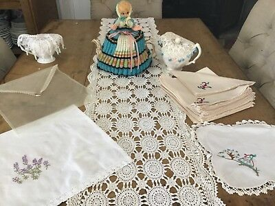 Vintage Linen, Knitted Dolly Tea Pot Cover, Beaded Jug Covers, 12 Napkins & More
