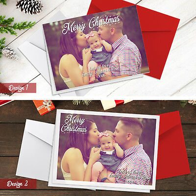 Personalised Pack of Christmas Cards With Photo + Envelopes | A5 Folded Cards
