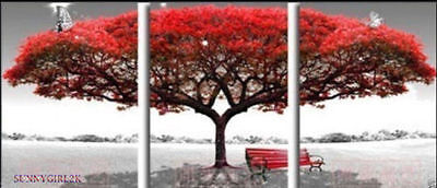 ZWPT300  3pcs hand-painted moder abstract red tree home art oil painting canvas