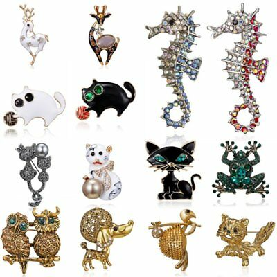 Fashion Women Animal Frog Cat Owl Pearl Crystal Enamel Brooch Pin Jewelry Party