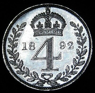 1892 Great Britain 4 Pence Groat  Excellnet Details    A32-297