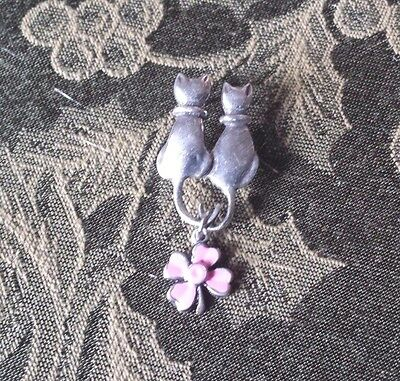 1 CAT PIN with FOUR LEAF CLOVER for BREAST CANCER AWARENESS PEWTER PIN All New.