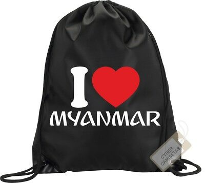 I Love Myanmar Birmania Mochila Bolsa Gimnasio Saco Backpack Bag Gym Myanmar