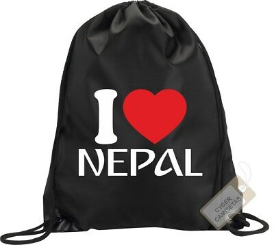 I Love Nepal Mochila Bolsa Gimnasio Saco Backpack Bag Gym Nepal Sport