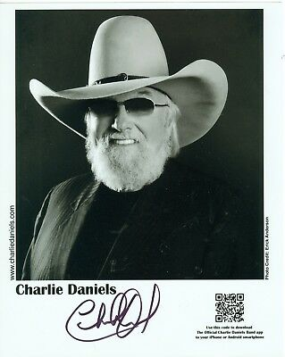 Charlie Daniels autographed  8 x 10 black white publicity photo hand signed