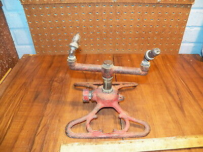 Vintage Cast Iron 2 Head Adjustable Brass Nozzle Garden Sprinkler