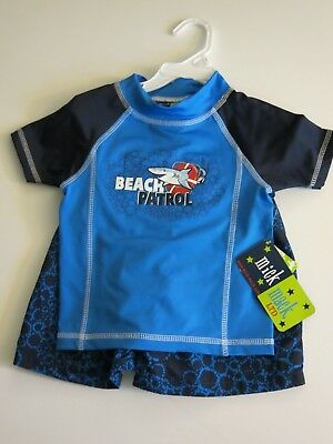 5272fcf970 Mick Mack Toddler Boys 2T 2 Pc Rash Guard Swim Trunks Shorts Shark Blue