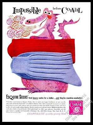 1959 pink fire-breathing dragon art CUTE Corval fiber Esquire Socks print ad