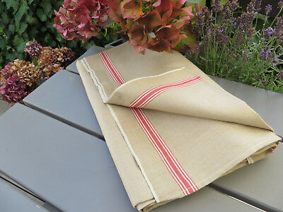 "Unused Linen Mangle Cloth Tablecloth  Runner Red Stripes 36 "" by 3.22 Yards"