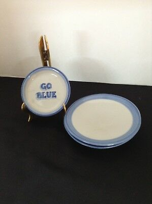 "M A Hadley Saucers 6 3/8"" Set Of Two & One Coaster ""Go Blue"""