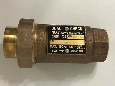 "Watts Dual Check No.7 3/4"" X 3/4"" Mod.7112-2 150.PSI 180.F"