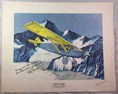 Pilot & Artist Signed Aircraft Litho Print Rockford to Stockholm Historic Flight