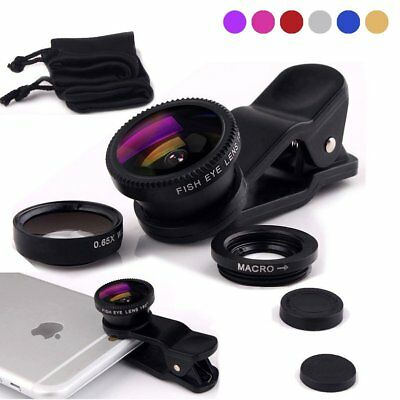 Wide Angle Micro Fish Eye Clip 3 in 1 Smart Cell Phone Camera Lens Universal