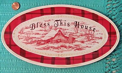 Fitz and Floyd Ceramic Oval Plate Tray, BLESS THIS HOUSE, Town & Country