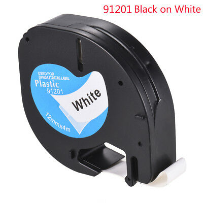 Waterproof 12mmx4m Plastic Black On Label Cartridge Tape Roll For Dymo LetraTag